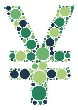 yuan: yuan shape vector design by color point Illustration