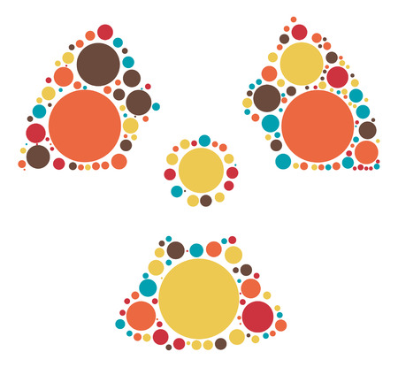 radioactive warning symbol: radiation shape vector design by color point