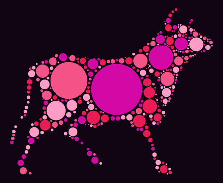 Cattle shape  design by color point