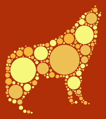 wolf shape vector design by color point