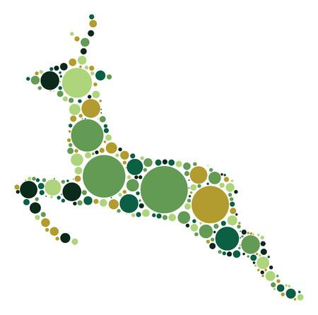 deer shape design by color point