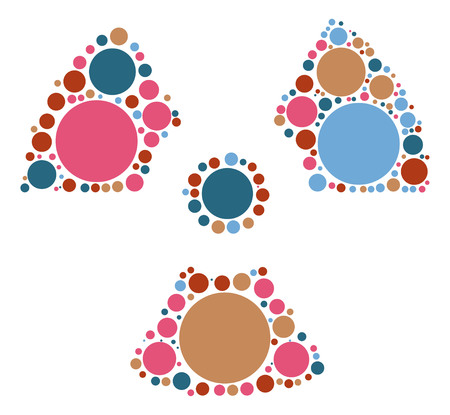 radioactive warning symbol: radiation shape design by color point Illustration
