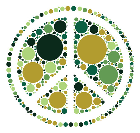 pacifist: Peace sign shape design by color point Illustration