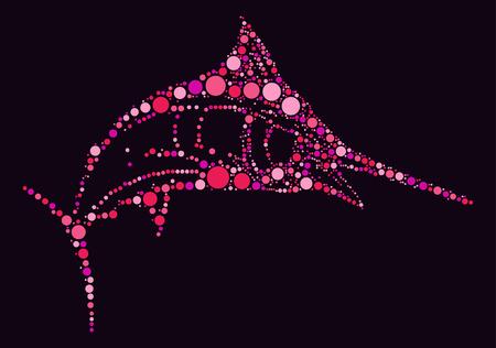 pez espada: swordfish shape design by color point Vectores