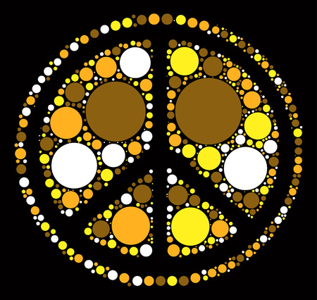 Peace sign shape vector design by color point
