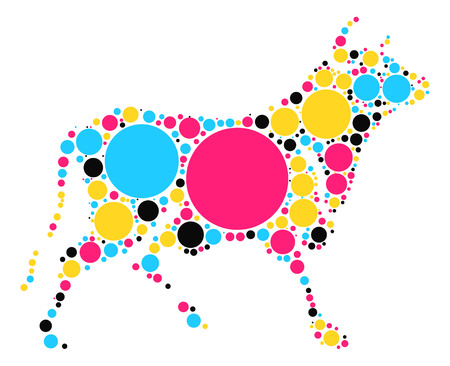 pastures: bull shape vector design by color point