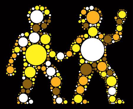 Gemini shape vector design by color point Illustration