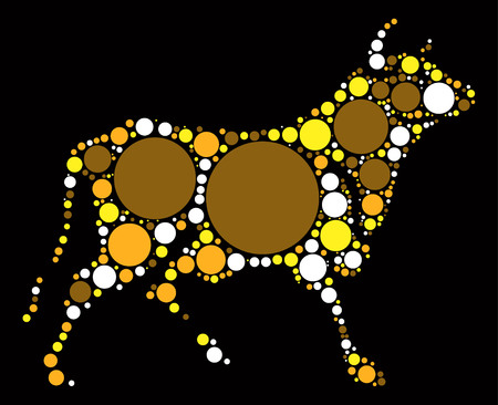 bull shape vector design by color point
