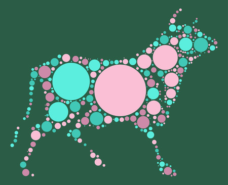 grazing: bull  shape vector design by color point