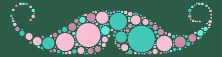 Moustache shape vector design by color point
