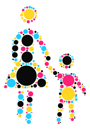 mother baby: baby and mother shape vector design by color point Illustration