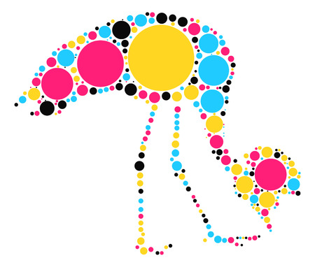 hokkaido: crane shape vector design by color point