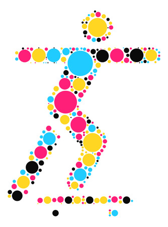 skateboard park: skateboard shape vector design by color point