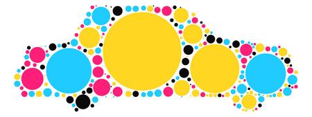 silhouette voiture: forme de voiture dessin vectoriel par point de couleur