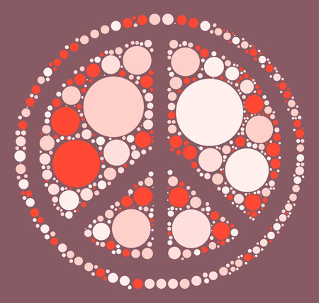 pacifist: Peace sign shape vector design by color point