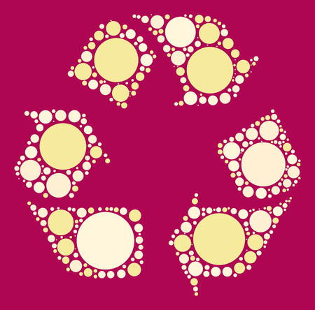 recycle icon shape vector design by color point