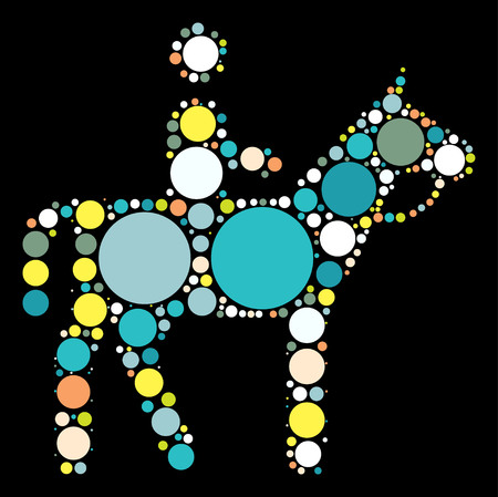 horse riding shape vector design by color point