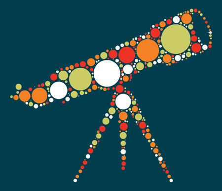 telescope shape vector design by color point