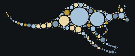 kangaroo shape design by color point Illustration