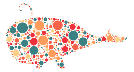 whale shape vector design by color point Illustration