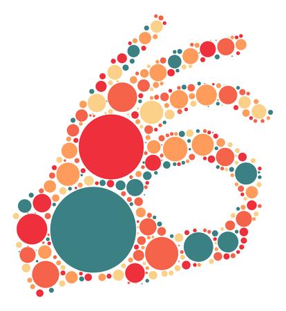 finger signals: hand ok shape design by color point