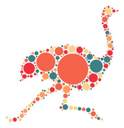 Diseño de la forma de avestruz por punto de color Foto de archivo - 62892833