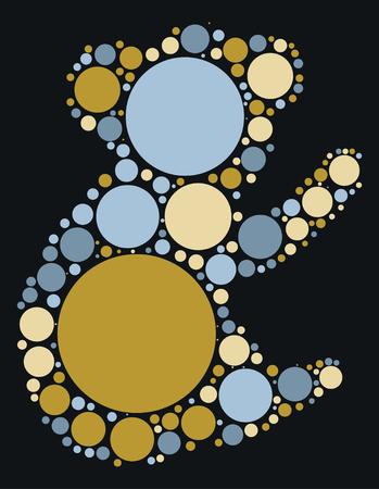 Koala shape design by color point
