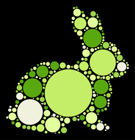 lapin silhouette: rabbit shape design by color point