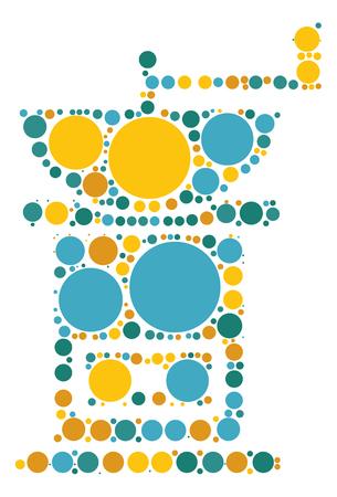 Coffee bean grinder shape design by color point Illustration