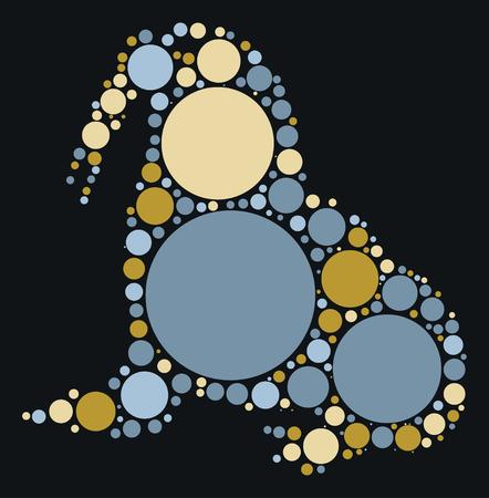tusk: walrus shape design by color point Illustration