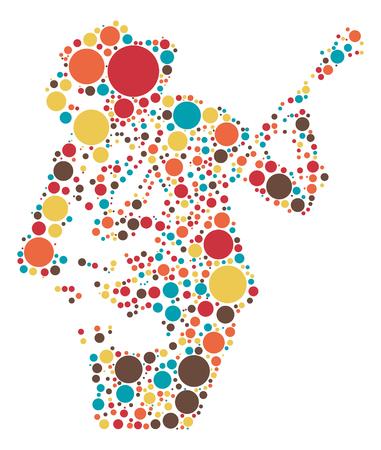 Guitarist shape  design by color point