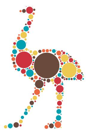 ostrich shape design by color point