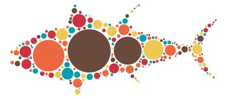 bluefin tuna: tuna shape design by color point Illustration