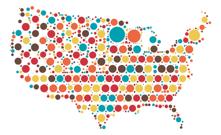 United States map shape design by color point