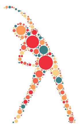 flexible woman: gymnastics shape design by color point