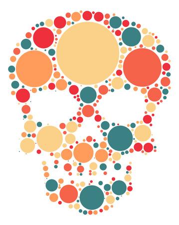 Skull shape design by color point Illustration