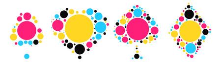 색상 포인트 별 포커 모양 디자인 일러스트