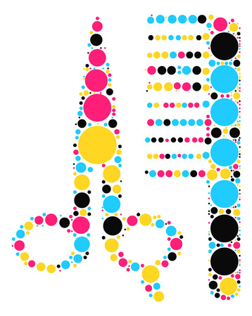Scissors Combs shape design by color point Illustration