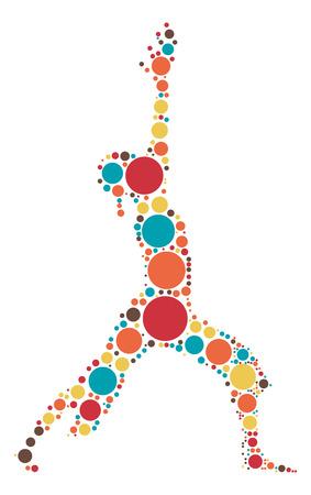 sport woman: Yoga shape design by color point