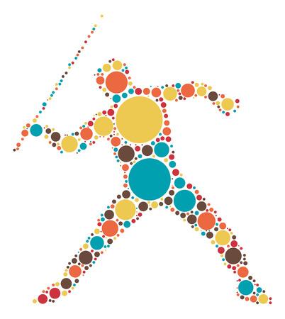 lanzamiento de jabalina: diseño de la forma de jabalina por punto de color