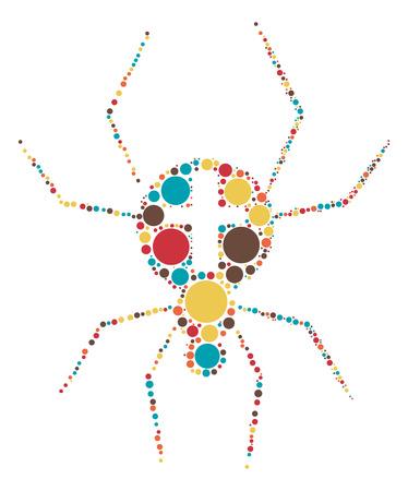 arachnid: spider shape design by color point