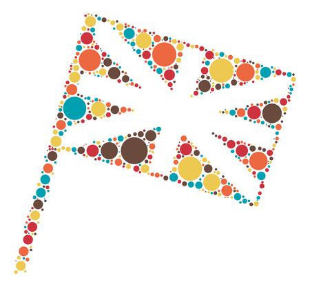 bandera de gran bretaña: British diseño de la forma de la bandera de punto de color