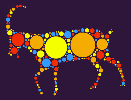 spring out: sheep shape vector design by color point