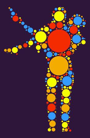 Ballroom Dancing shape vector design by color point Illustration