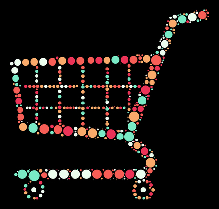shopping cart shape vector design by color point