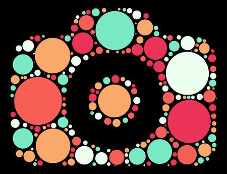 camera shape vector design by color point Illustration