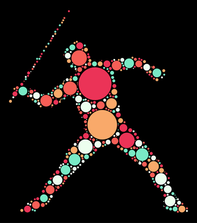 lanzamiento de jabalina: forma de jabalina vector de diseño por punto de color Vectores