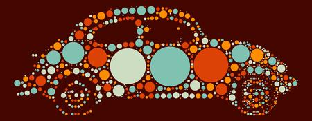 silhouette voiture: Design compact en forme de voiture par point de couleur
