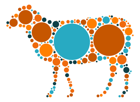 sheep shape vector design by color point