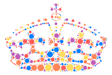 Imperial crown shape vector design by color point Illustration